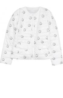 Стеганая куртка с принтом Monnalisa