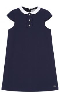 Мини-платье А-силуэта с контрастным воротником и фигурной отделкой Tartine Et Chocolat