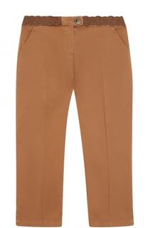 Хлопковые брюки прямого кроя с эластичной вставкой на поясе Tartine Et Chocolat