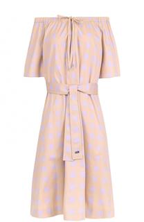 Хлопковое мини-платье с поясом и принтом Escada Sport