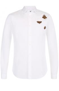Хлопковая рубашка с контрастной вышивкой Valentino