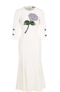 Приталенное платье-миди с цветочной отделкой Dolce & Gabbana