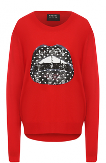 Пуловер прямого кроя с пайетками Markus Lupfer