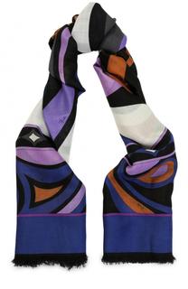 Платок из смеси шерсти и шелка с принтом Emilio Pucci