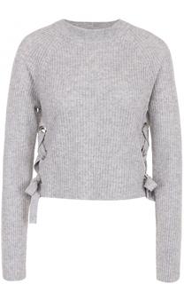 Кашемировый пуловер фактурной вязки со шнуровкой FTC