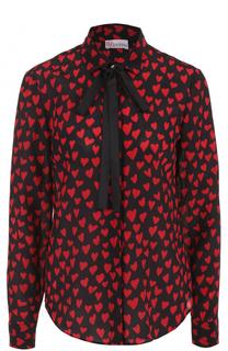 Шелковая блуза с принтом в виде сердец и воротником аскот REDVALENTINO