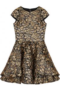 Мини-платье с металлизированной цветочной отделкой и бантом David Charles