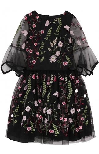 Мини-платье с вышивкой и фигурной отделкой на рукавах David Charles