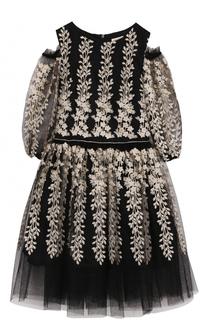 Платье-миди с вышивкой и открытыми плечами David Charles