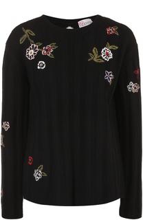 Пуловер с вышивкой и кружевной вставкой на спинке REDVALENTINO