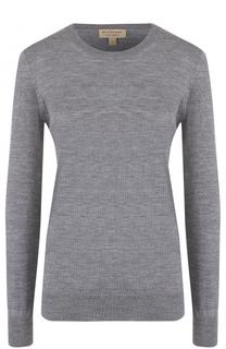 Шерстяной пуловер с круглым вырезом и заплатками Burberry