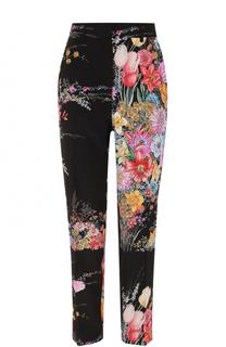 Шелковые брюки с цветочным принтом No. 21
