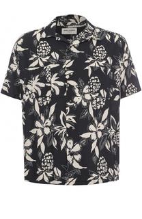 Рубашка из смеси вискозы и хлопка с принтом Saint Laurent