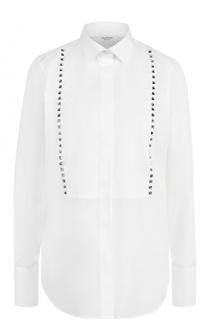 Хлопковая блуза с планкой и заклепками Valentino