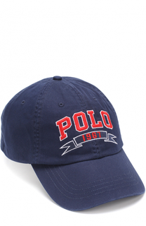 Хлопковая бейсболка с логотипом бренда Polo Ralph Lauren