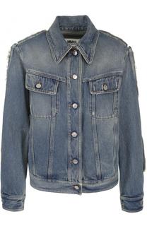 Джинсовая куртка прямого кроя с потертостями Mm6