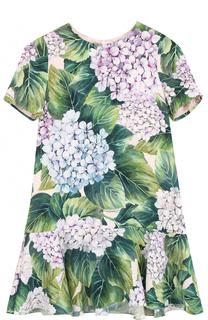 Шелковое мини-платье с цветочным принтом Dolce & Gabbana