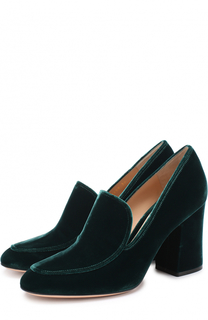 Бархатные туфли Marcel на устойчивом каблуке Gianvito Rossi