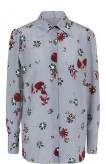Шелковая блуза с цветочным принтом Valentino
