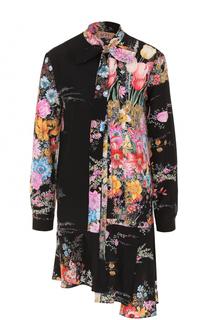 Шелковое платье асимметричного кроя с цветочным принтом No. 21