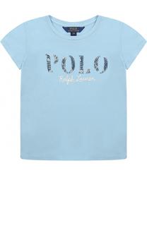 Хлопковая футболка с вышивкой и аппликациями Polo Ralph Lauren