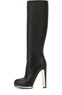 Кожаные сапоги на декорированном каблуке Alexander McQueen