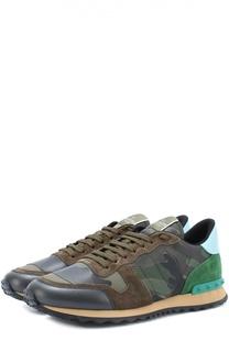 Комбинированные кроссовки Rockrunner с камуфляжным принтом Valentino