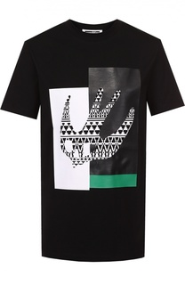 Хлопковая футболка с контрастным принтом MCQ
