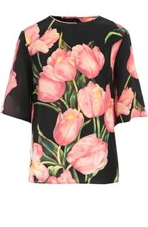 Шелковый топ с цветочным принтом и укороченным рукавом Dolce & Gabbana