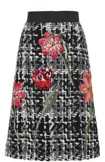 Буклированная юбка-миди с цветочной отделкой Dolce & Gabbana
