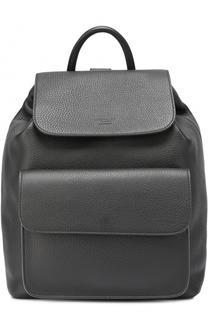 Кожаный рюкзак с клапаном и внешним карманом Giorgio Armani