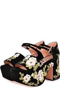 Текстильные босоножки с цветочной аппликацией Rochas