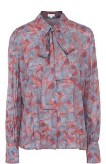 Блуза прямого кроя с воротником аскот и контрастным принтом Escada Sport