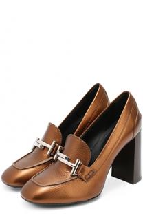 Кожаные туфли с пряжкой на устойчивом каблуке Tod's Tods