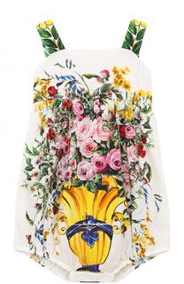 Хлопковый песочник с ярким принтом Dolce & Gabbana