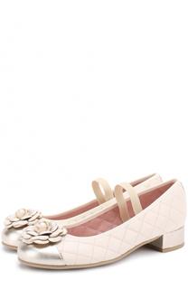 Кожаные туфли с металлизированной отделкой и декором Pretty Ballerinas