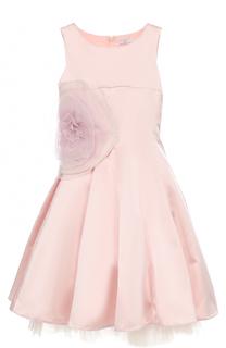 Приталенное платье-миди с пышной юбкой и аппликацией в виде розы Monnalisa