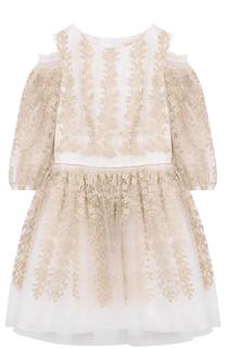 Платье-миди с металлизированной вышивкой и открытыми плечами David Charles