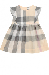 Хлопковое платье с принтом и оборками Burberry