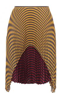 Шелковая плиссированная юбка в полоску Marco de Vincenzo