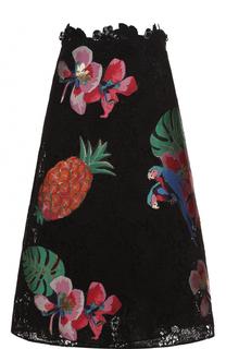 Шелковая юбка А-силуэта с нашивками Valentino