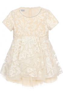 Приталенное мини-платье с вышивкой и стразами I Pinco Pallino