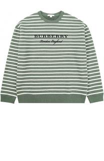 Хлопковый свитшот в полоску с логотипом бренда Burberry