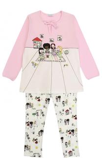 Пижама из эластичного хлопка с принтом Dolce & Gabbana