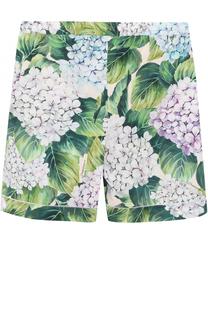 Хлопковые мини-шорты с цветочным принтом Dolce & Gabbana