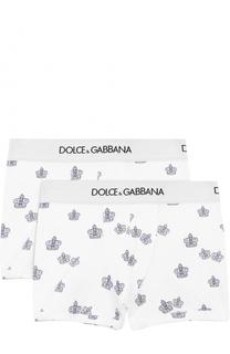 Комплект из двух хлопковых боксеров с принтом Dolce & Gabbana