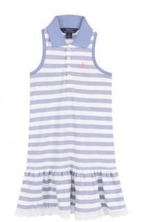 Хлопковое платье в полоску с кружевной отделкой и открытыми плечами Polo Ralph Lauren