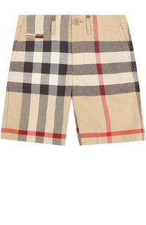 Хлопковые шорты с принтом и накладными карманами Burberry