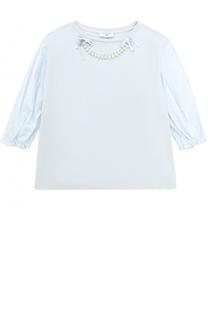 Комбинированная блуза с кристаллами и бантами Monnalisa
