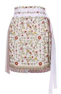 Шелковая юбка с плиссировкой и цветочным принтом No. 21